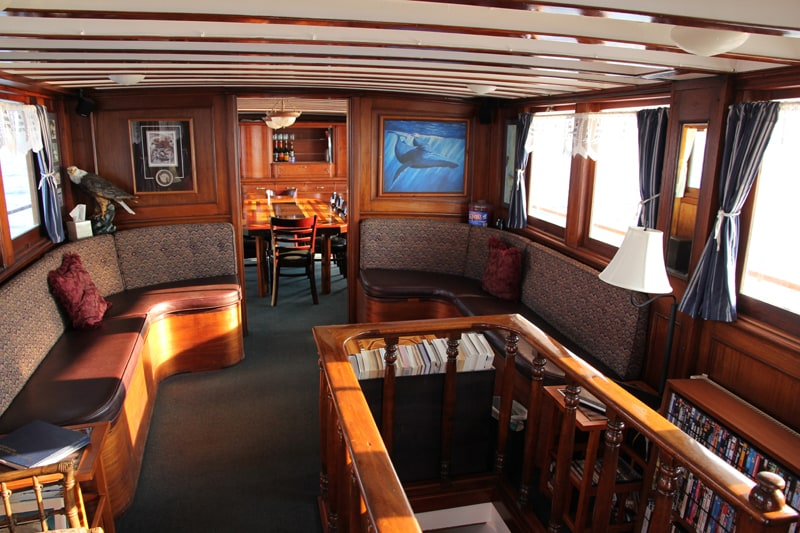 A very comfortable place to relax or read a good book or to watch a movie after dinner on your Alaska small ship cruise