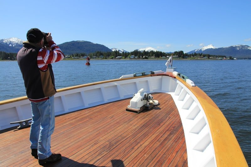 The foredeck offers a totally unobstructed view to take advantage of the incredible wildlife encounters we'll experience as part of your Alaska small ship Cruise