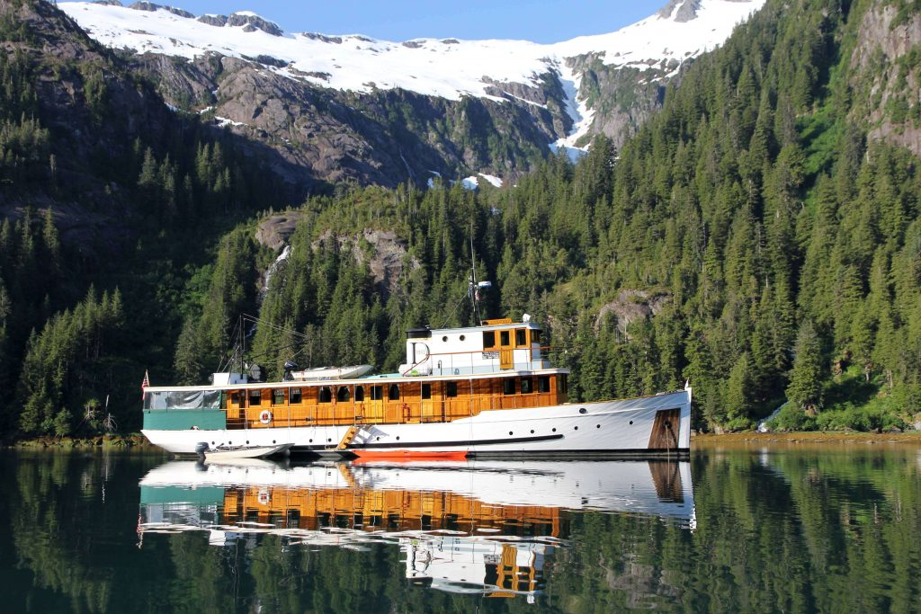 Finding a beautiful secluded anchorage on our Alaskan Expedition Cruise