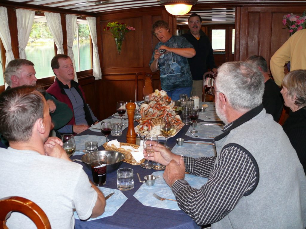 On our Alaska small ship cruises the bounty of the sea often provides a special treat like Dungeness Crabs, Fresh Salmon, Fresh Halibut or Fresh Shrimp. Yummy!!