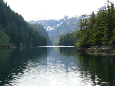 Entering another beautiful secluded anchorage on an Alaskan Cruise